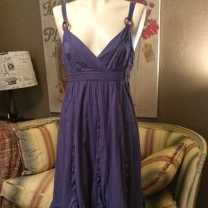 Anthropologie Lithe Purple Eyelet Ruffle Sundress